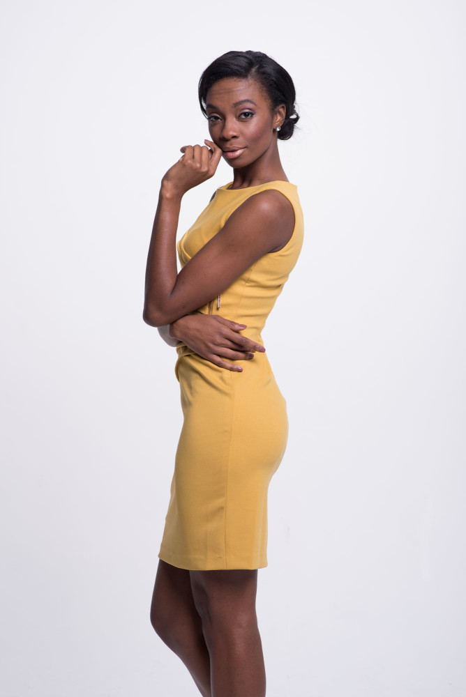 yellow work sheath dress