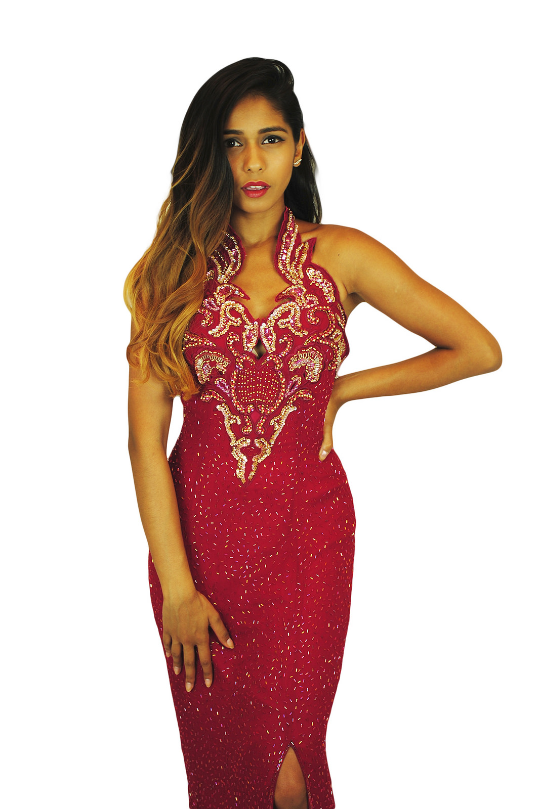Vintage Red Wine Evening Gown - DiDomenico Design