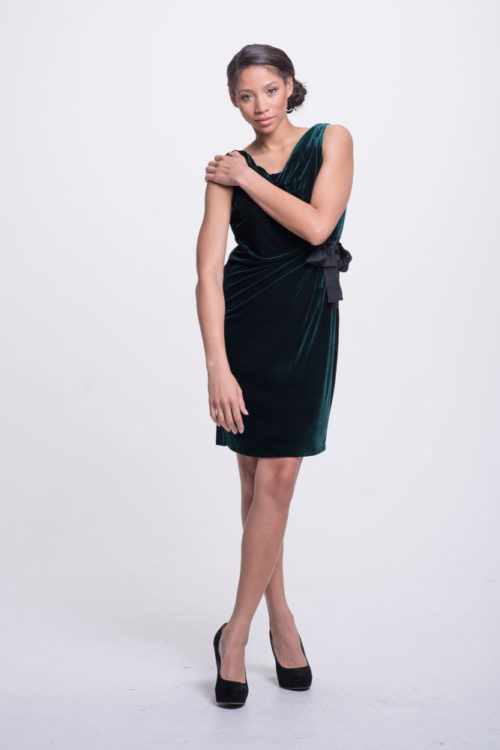 everest green velvet dress