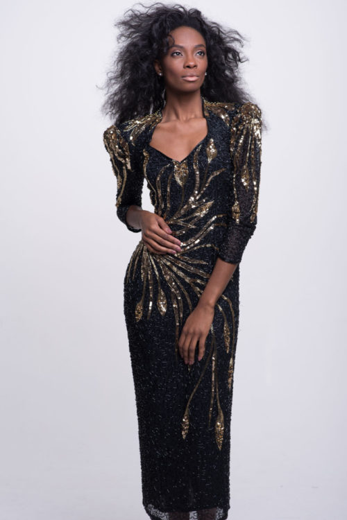 black and gold vintage sequin gown