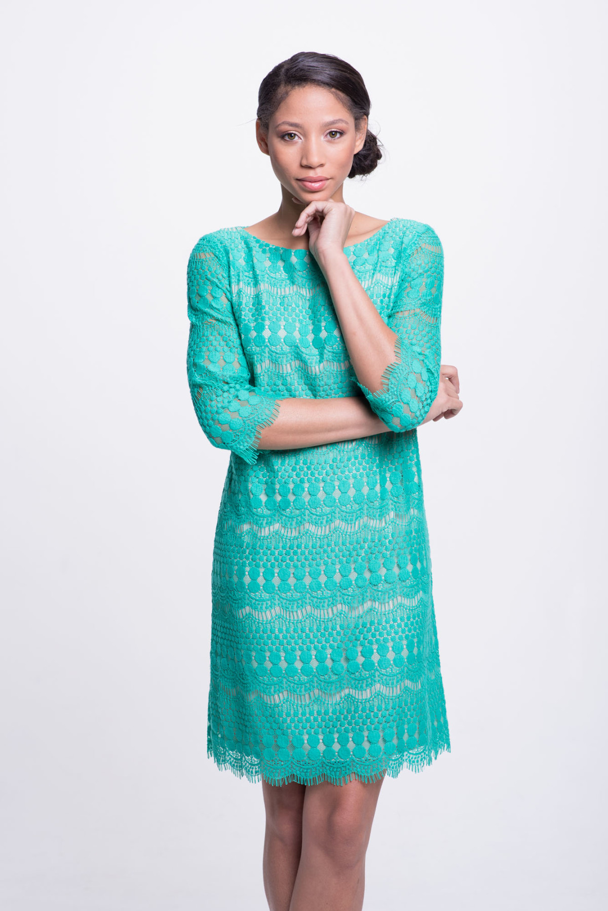 DIDomenico Design Spring Teal lace Dress