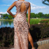 gold geo dress didomenico design custom made dress washington dc
