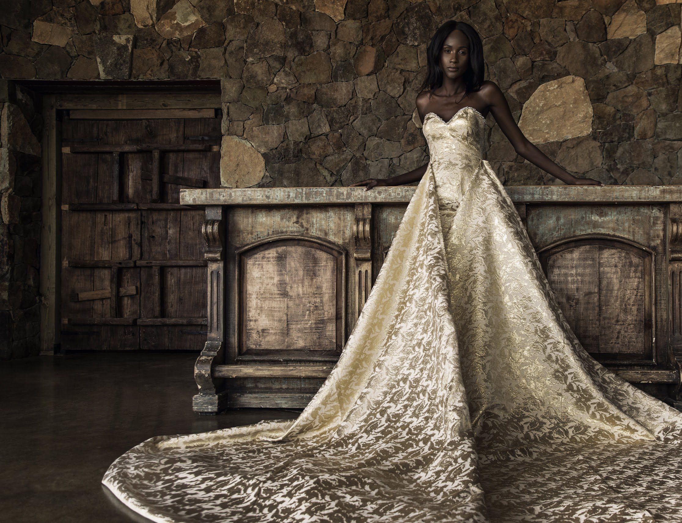 Gleaming Gold Wedding Gown